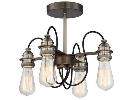 Minka Lavery Uptown Edison Harvard Court Bronze with Pewter Industrial Semi-Flush Mount MGO4454784