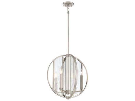 Minka Lavery Via Capri Brushed Nickel 18'' Wide Glass Pendant MGO316584