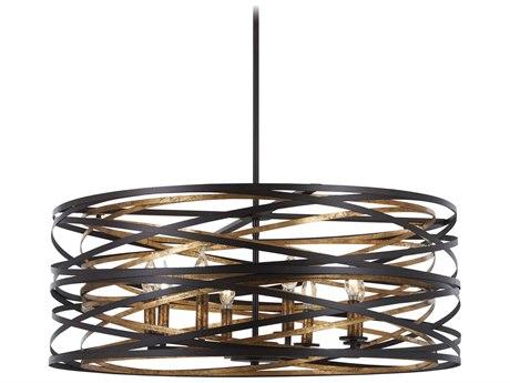 Minka Lavery Vortic Flow Dark Bronze / Mosaic Gold 30'' Wide Glass Medium Chandelier