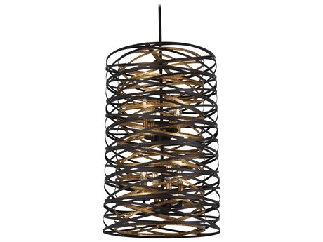 Minka Lavery Vortic Flow Dark Bronze / Mosaic Gold 18'' Wide Mini Chandelier