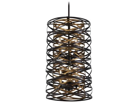 Minka Lavery Vortic Flow Dark Bronze / Mosaic Gold 14'' Wide Mini Chandelier MGO4672111