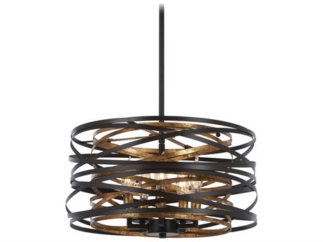 Minka Lavery Vortic Flow Dark Bronze / Mosaic Gold Steel 16'' Wide Glass Mini Chandelier MGO4675111