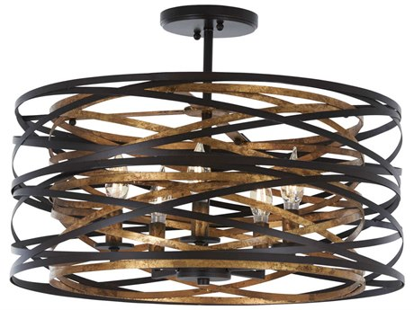 Minka Lavery Vortic Flow Dark Bronze / Mosaic Gold 20'' Wide Semi-Flush Mount