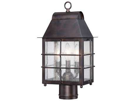 Minka Lavery Willow Pointe Chelesa Bronze Glass Outdoor Post Light
