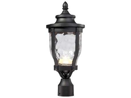 Minka Lavery Wynterfield Black Glass LED Outdoor Post Light