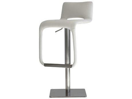 Mobital Azure White / Brushed Stainless Steel Side Adjustable Swivel Bar Height Stool