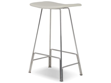 Mobital Canaria White / Polished Stainless Steel Side Bar Height Stool
