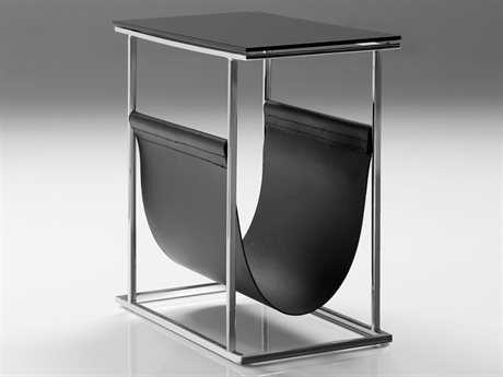 Mobital Cor/Mag Black Leather/Stainless Steel Magazine Rack MBWRACOR9BLACBLKGL