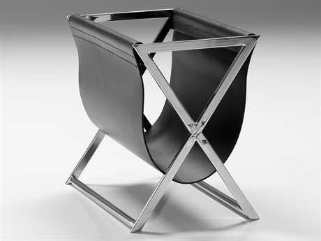 Mobital Cor/Mag Black Leatherette/Stainless Steel Magazine Rack MBWRAMAG9BLACSTEEL