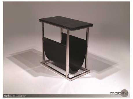 Mobital Cor Black Leather Magazine Holder End Table MBWRACOR9BLACBMARB