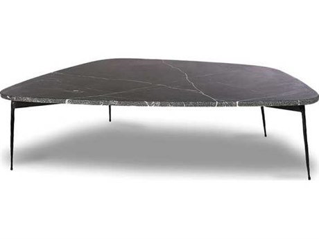 Mobital Flint Black Marquina Marble / 33'' Wide Coffee Table MBWCOFLINMBLALARGE