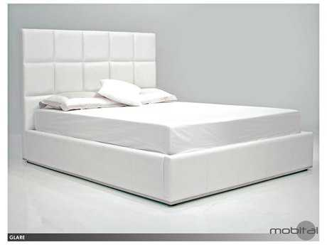 Mobital Glare White Leatherette Storage Queen Bed MBBEDGLARWHITQSTOR