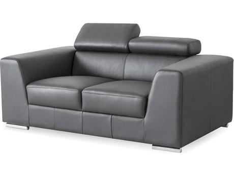 Mobital Icon Dark Grey Premium Leather Loveseat MBLOVICONDGREPREMI