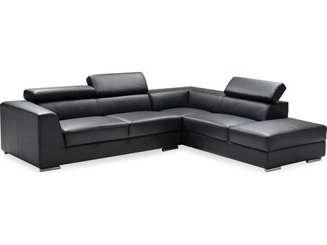 Mobital Icon Black Premium Leather Sectional Right Chaise MBSERICONBLACPREMI