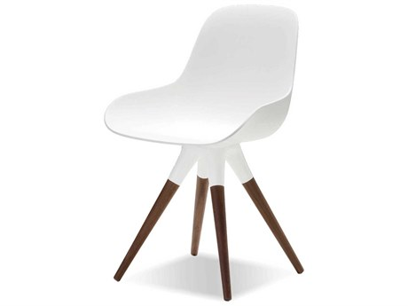 Mobital Iztuzu White / Walnut Wood Side Dining Chair (Sold in 2)