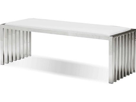 Mobital Kade White Leatherette Bench