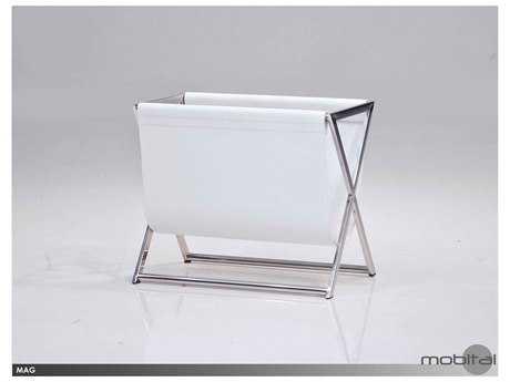 Mobital Mag White Leather Magazine Holder MBWRAMAG9WHITSTEEL