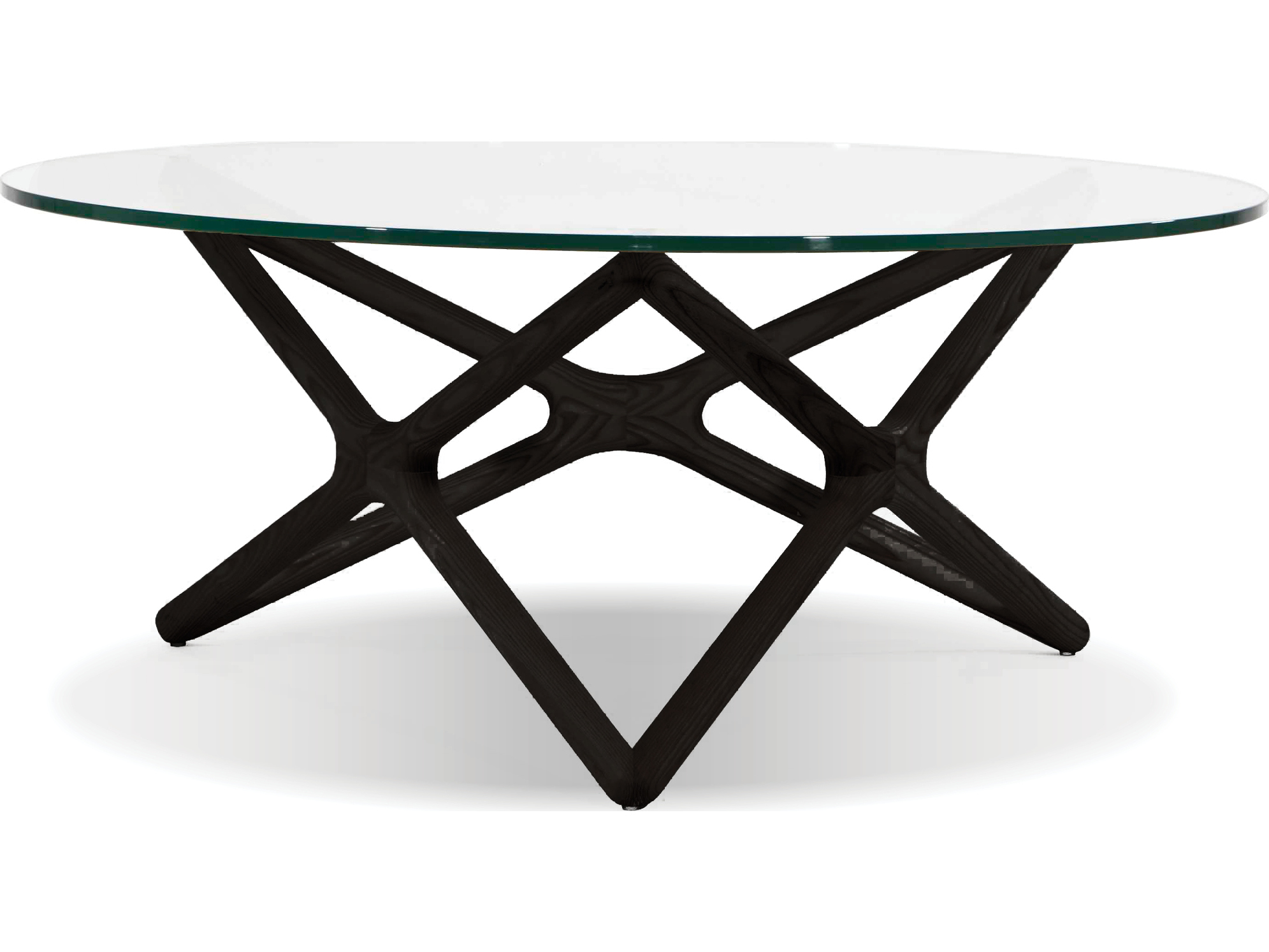 Mobital Quasar Tempered Gl Black Crown Cut Beech 39 Wide Round Coffee Table