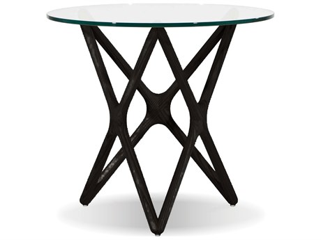 Mobital Quasar Tempered Glass / Black Crown Cut Beech 21'' Wide Round End Table