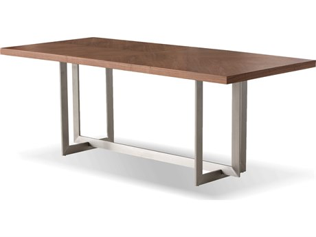 Mobital Remi Walnut / Brushed Stainless Steel 79'' Wide Rectangular Dining Table