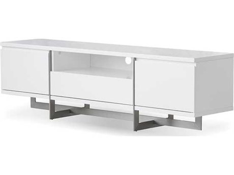 Mobital Remi White / Brushed Stainless Steel TV Stand MBWTVREMIWHIT