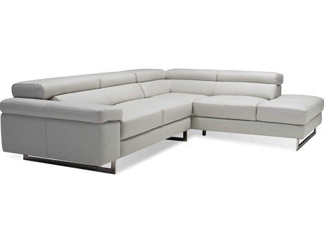 Mobital Syncro Titanium Grey Leather Sectional Right Chaise