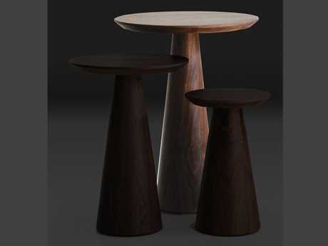Mobital Tower 18 Round Walnut Tall Pedestal Table
