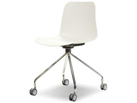 Mobital Trask White / Chrome Side Rolling Dining Chair (Sold in 2) MBDCHTRASWHITGLIDE