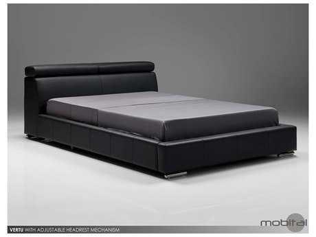 Mobital Vertu Dark Gray Leather Queen Bed MBBEDVERTDGREQUEEN