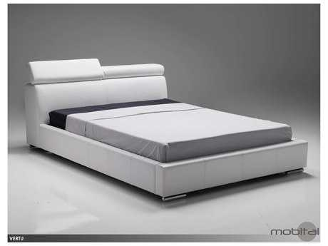 Mobital Vertu White Leather King Bed MBBEDVERTWHITKING