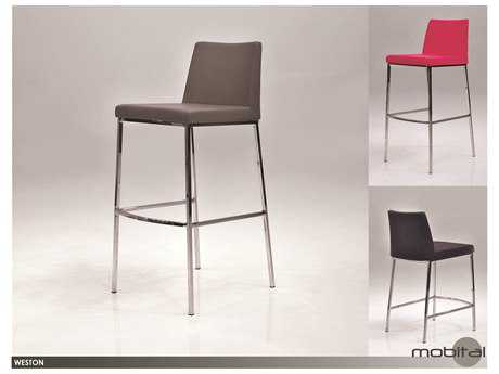 Mobital Weston Grey Ultra Leatherette Bar Stool (Sold in 2)