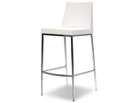 Mobital Weston Pure White / Stainless Steel Side Bar Height Stool (Sold in 2)