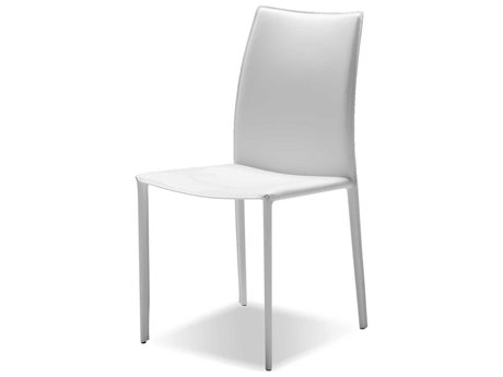 Mobital Zak Pure White Leather Dining Chair (Sold in 2)