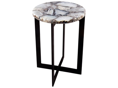 Moe's Home Collection Agate White / Matte Black 16'' Wide End Table