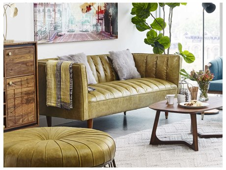 Moe's Home Collection Barin Green Leather Sofa MEQN100116