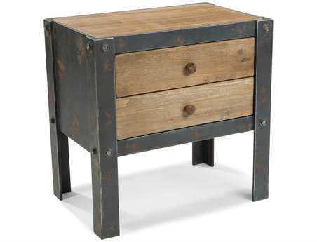 Moe's Home Collection Bolt 24 x 16 Rectangular Natural Side Table with 2 Drawers