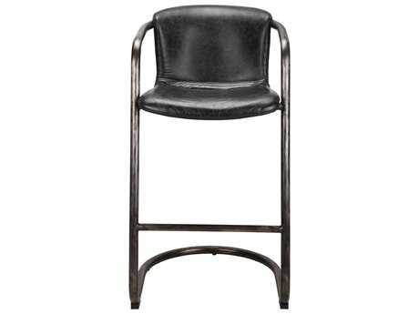Moe's Home Collection Freeman Antique Black Leather Bar Stool (Set of 2) MEPK106002