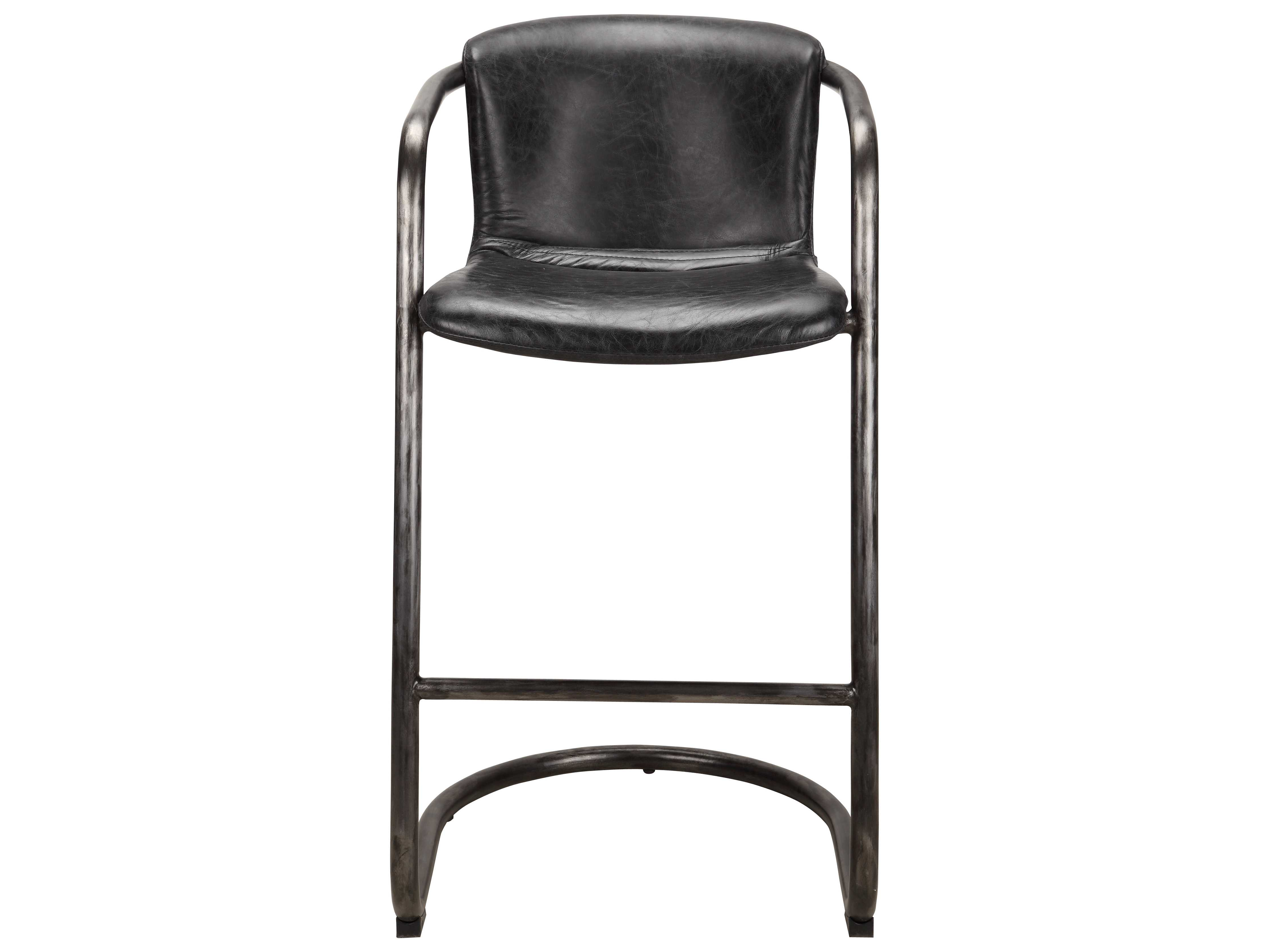 Amazing Moes Home Collection Freeman Antique Black Leather Bar Stool Set Of 2 Pabps2019 Chair Design Images Pabps2019Com