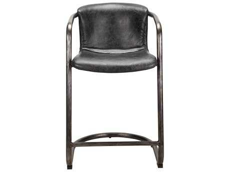 Moe's Home Collection Freeman Antique Black Leather Counter Stool (Set of 2) MEPK106102