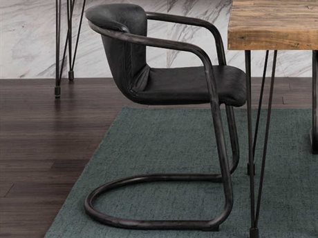 Moe's Home Collection Freeman Antique Black Leather Dining Chair (Set of 2) MEPK105902