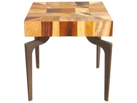 Moe's Home Collection Gajel 20'' Square Natural Side Table with Metal Legs