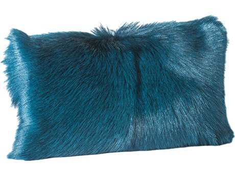Moe's Home Collection Goat Fur Teal Bolster Pillow MEXU100426