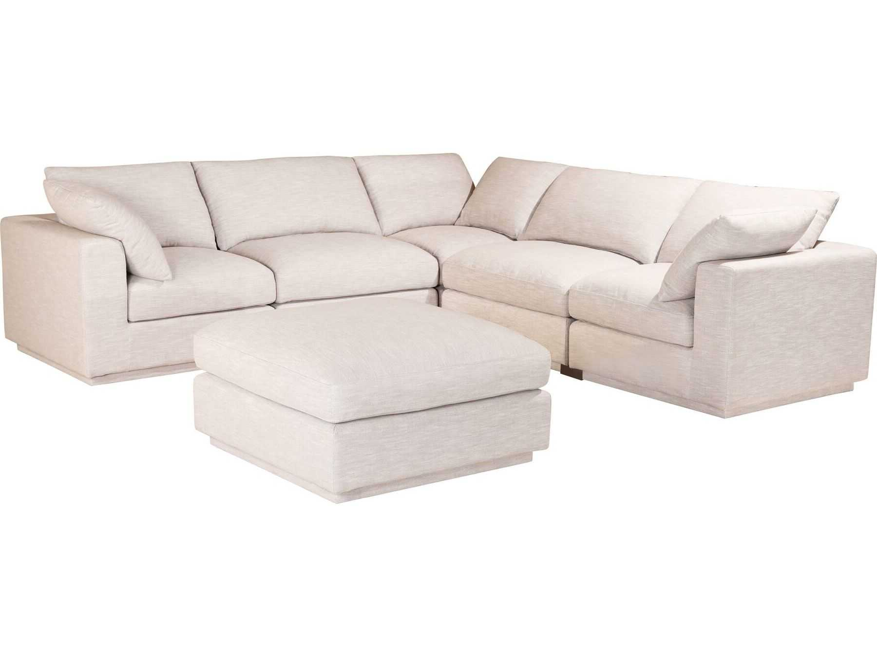 Groovy Moes Home Collection Justin Taupe Five Piece Sectional Sofa With Ottoman Onthecornerstone Fun Painted Chair Ideas Images Onthecornerstoneorg