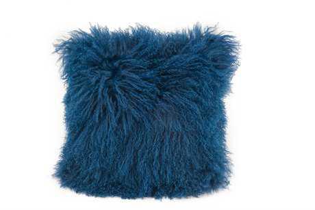 Moe's Home Collection Lamb Fur Blue Pillow