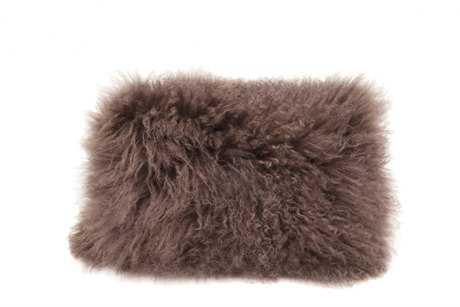 Moe's Home Collection Lamb Fur Rectangular Brown Pillow