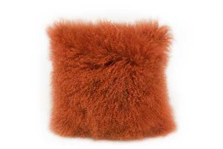 Moe's Home Collection Lamb Fur Orange Pillow MEXU100012