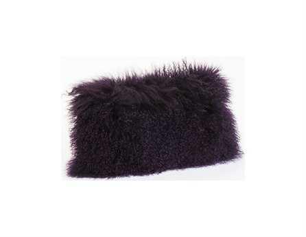 Moe's Home Collection Lamb Fur Rectangular Purple Pillow