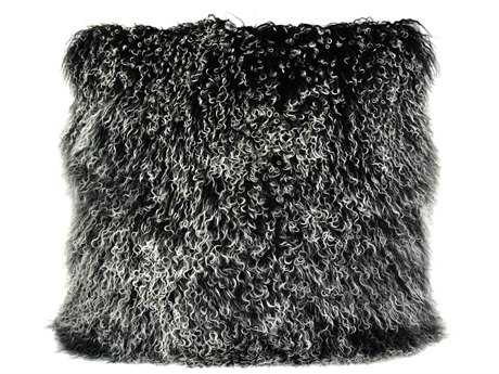 Moe's Home Collection Lamb Fur Large Black Snow Pillow MEXU100802
