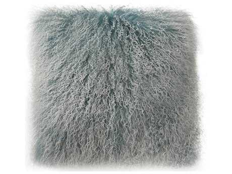 Moe's Home Collection Lamb Fur Large Blue Snow Pillow MEXU100828