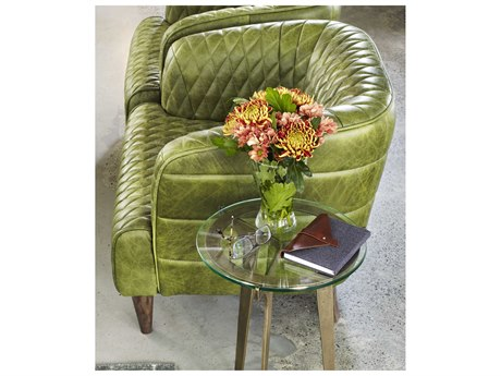 Moe's Home Collection Magdelan Emerald Tufted Leather Arm Chair MEPK107627